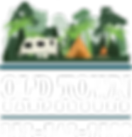 OLD TOWN CAMPGOUND LOGO with trees, camper, tent and fire