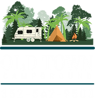 OLD TOWN CAMPGOUND LOGO with trees - camper - tent