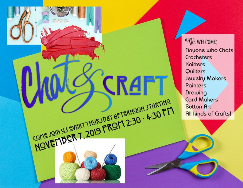 poster that highlights sewing, crocheting, knitting, scissor and paper crafts