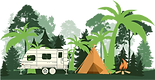 RV trailer with tent and campfire plus different trees in a graphic design