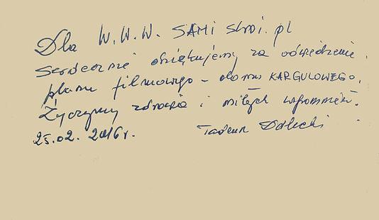 dedykacja Tadeusza Doleckiego właściciela domu Kargula