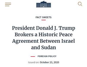 President Donald J. Trump Brokers a Historic Peace Agreement Between Israel and Sudan