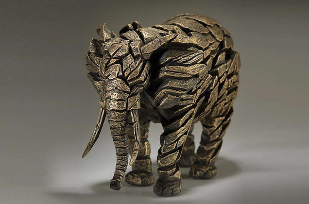 Edge Sculpture Elephant Figure - Golden