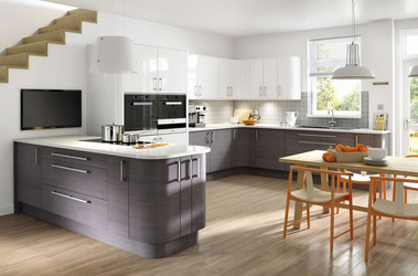 Marpatt Contemporary Collection - Horizon in Oak Blue Steel and White Gloss