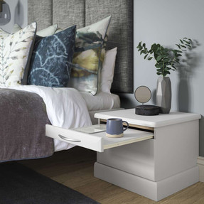 Hepplewhite Milan bedside with pull-out tray in Matt Light Grey