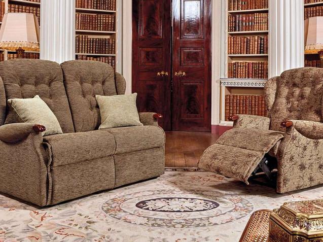 Sherborne Lynton Knuckle Fabric 2 Seater Fabric Sofa & Recliner Chair   Gordon Busbridge Furniture   Hastings, Eastbourne, Seafrod, Bexhill, St Leonards on Sea