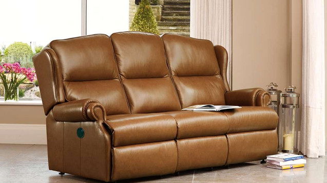Sherborne Claremont Leather 3 Seater Recliner Sofa | Gordon Busbridge Furniture & Beds Store | Hastings, Eastbourne, St Leonards on Sea, Bexhill & Seaford
