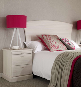 Hepplewhite Milan bedside and headboard in White Ash