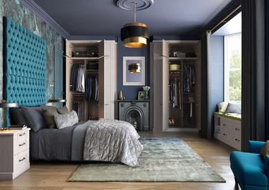 Hepplewhite Kingsbury Wardrobe (doors open) image in Rural Oak
