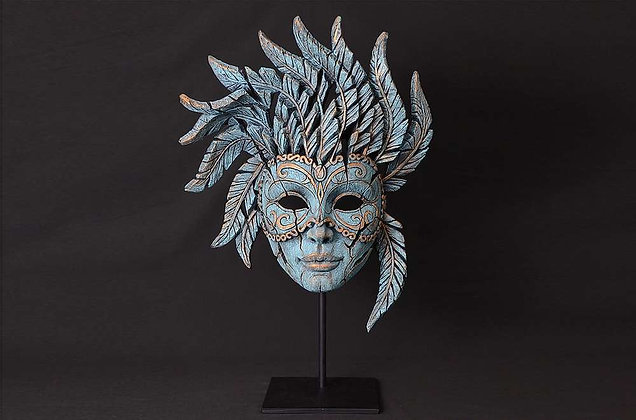 Edge Sculpture Venetian Carnival Mask - Teal