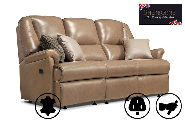 Sherborne Milburn Leather Small 3 Seater Recliner Sofa