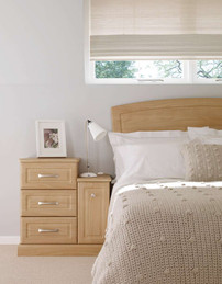 Hepplewhite Prima Square bedside chest and cupboard in Light Cherry