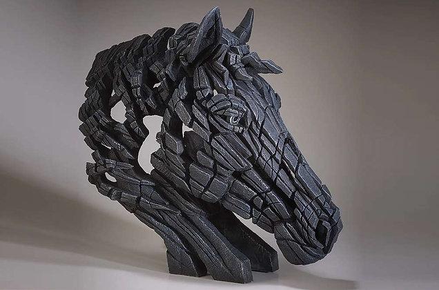 Edge Sculpture Horse Bust - Black