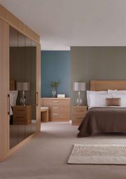 Hepplewhite Linear lifestyle with mirror doors in Light Oak veener