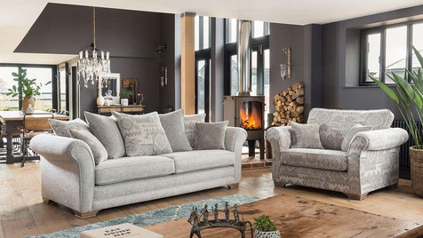 Monaco Grand Pillow Back Sofa & Snuggler Sofa