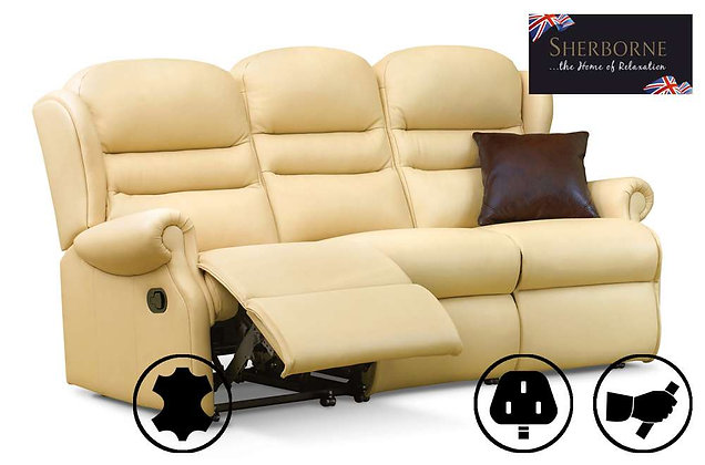 Sherborne Ashford Leather Small 3 Seater Recliner Sofa
