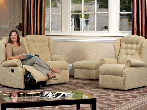 Sherborne Lynton Fabric 2 Seater Recliner Sofa, Armchair & Storage Footstool | Gordon Busbridge Furniture | Hastings, Eastbourne, Seafrod, Bexhill, St Leonards on Sea