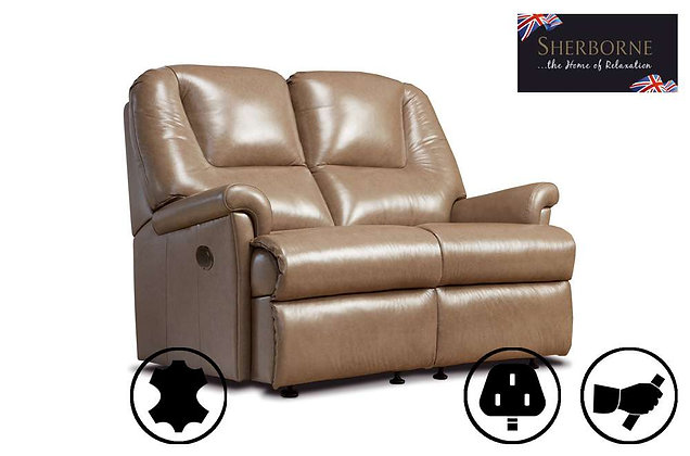 Sherborne Milburn Leather Small 2 Seater Recliner Sofa