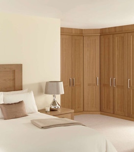 Hepplewhite Albany wardrobes in Chocolate Washed Oak with brush steel handles