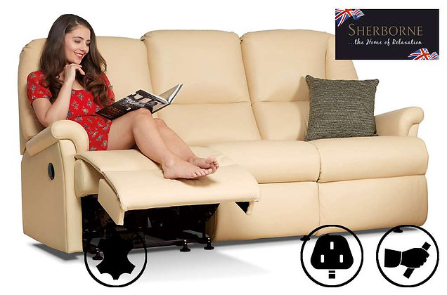 Sherborne Milburn Leather 3 Seater Recliner Sofa