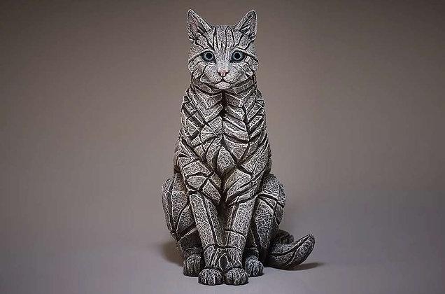 Edge Sculpture Sitting Cat Figure - White
