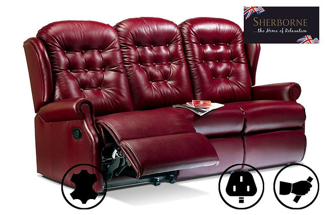 Sherborne Lynton Leather Small 3 Seater Recliner Sofa