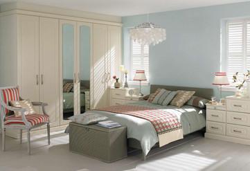 Hepplewhite Prima Curved roomset with mirror doors in Gardenia