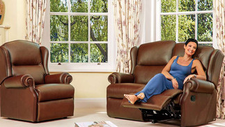 Sherborne Claremont Leather 2 Seater Recliner Sofa | Gordon Busbridge Furniture & Beds Store | Hastings, Eastbourne, St Leonards on Sea, Bexhill & Seaford