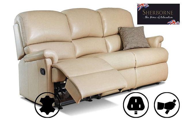 Sherborne Nevada Leather Small 3 Seater Recliner Sofa