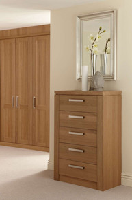 Hepplewhite Albany Chest in Chocolate Washed Oak with brushed steel handles