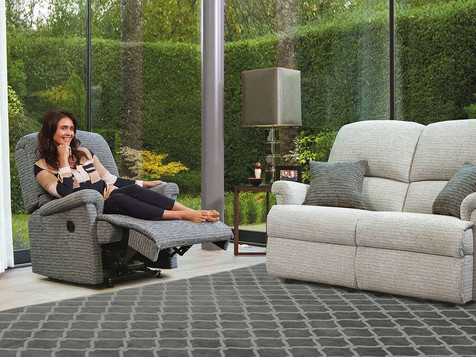 Sherborne Nevada Fabric 2 Seater Recliner Sofa & Small Recliner Armchairs | Gordon Busbridge Furniture | Hastings, Eastbourne, Seafrod, Bexhill, St Leonards on Sea