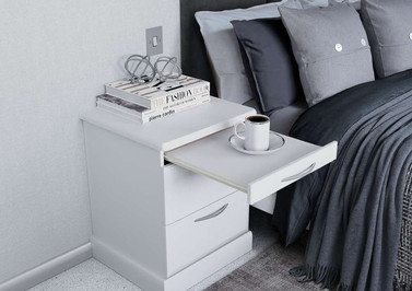 Hepplewhite Milan bedside chest with pull-out tray in White