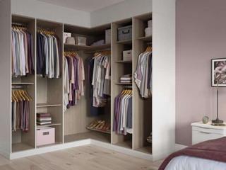 Hepplewhite Sienna corner wardrobe interior in White Ash