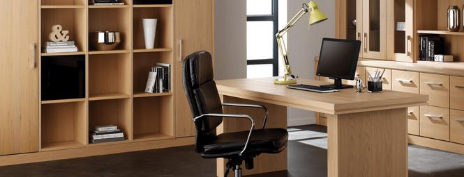 Hepplewhite Linear Home Office Shelf Unit in Light Oak Veneer