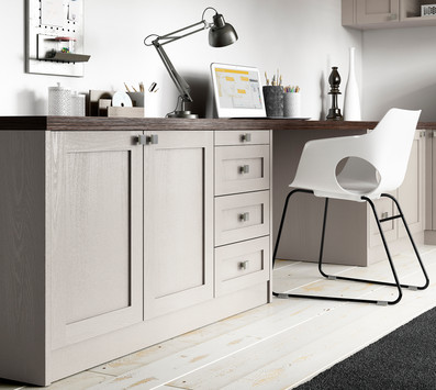 Hepplewhite Milton Home Office in Light Praline with Dark Pine Tops