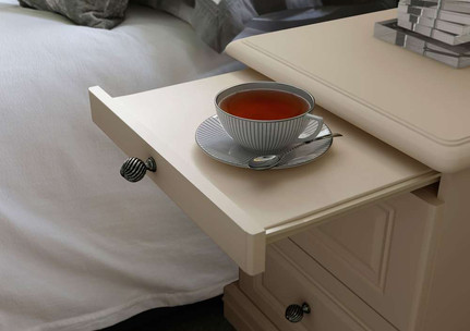 Hepplewhite Harewood bedside chest with pull-out tray in Gardenia