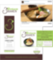 Examples of 3 Monkeys Ramen logo, business cards, Facebook ad, and magazine ad.