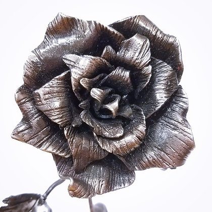 Detailed Metal Rose Sculpture