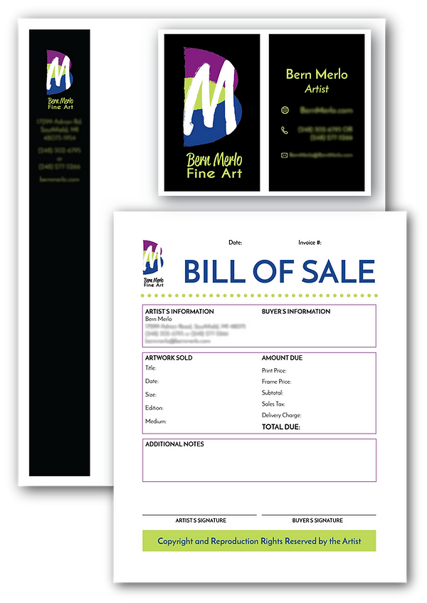 Example of Bern Merlo Fine Art letterhead, business card, and invoice.