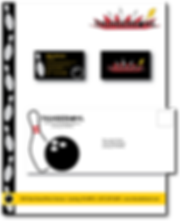 Complete brand package for Thunderbowl Family Gaming Center, showing letterhead, business cards, envelopes, and bowling shirt designs.