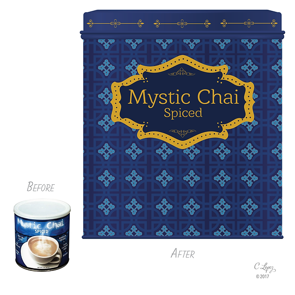 Packaging redesign for Mystic Chai Spiced Tea mix.
