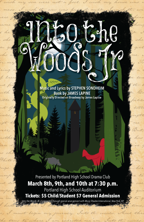 Poster design for Into the Woods Jr.