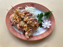 china moon plat brochettes de crevettes