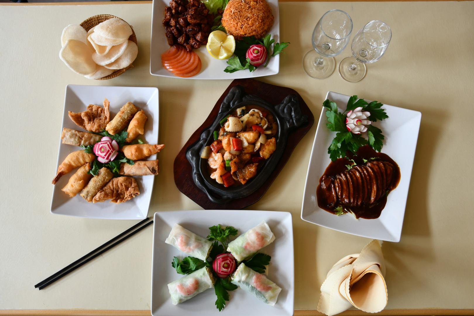 plats chinois déjeuner diner canard laqué rouleaux printemps boeuf loklak