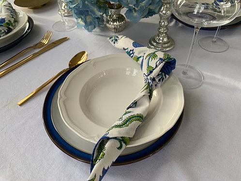 Azul jardin blockprint napkins (Set of 4)
