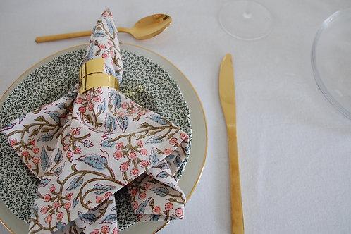 Pastille block printed napkins  (Set of 4)