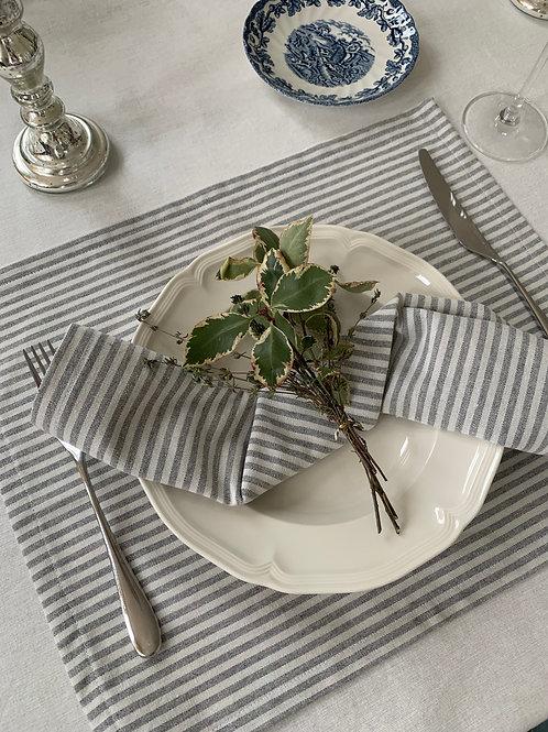 Striped cotton/linen blend napkins (Set of 4)