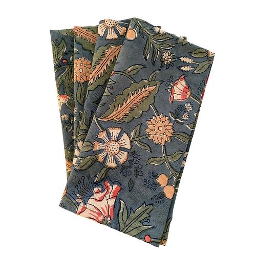 Majorelle garden blockprint napkins (Set of 4)