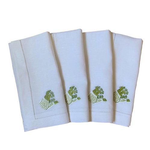 Fennel embroidered linen napkins, set of 4
