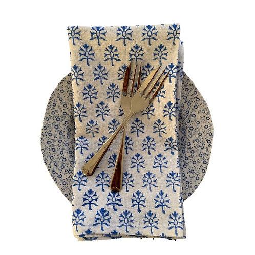 Blue leaf blockprint napkins